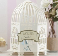 image of Wedding Post Box Birdcage Ivory - Vintage Lace