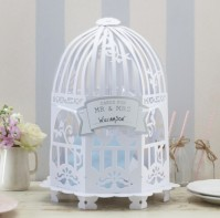 image of Wedding Post Box Birdcage White - Vintage Lace