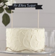 image of Chalkboard Wooden Cake Bunting Topper