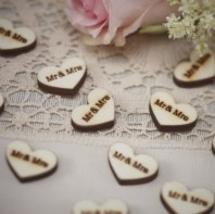 image of Mr and Mrs Heart Wood Confetti